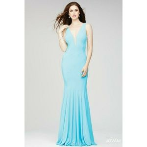 🔥Jovani fitted jersey gown w. plunging neck 4